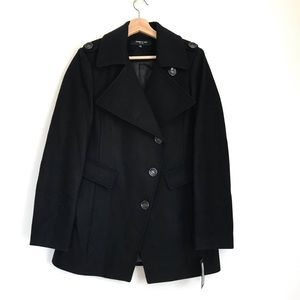 Kenneth Cole M black wool coat